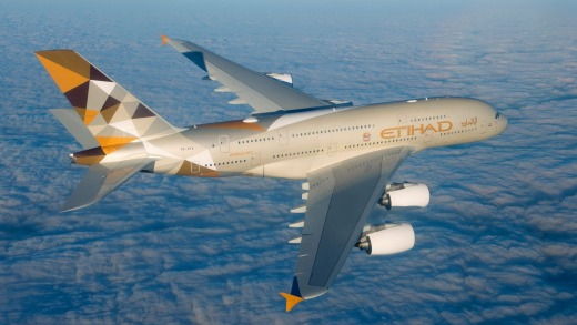 An Etihad Airlines A380-800.
