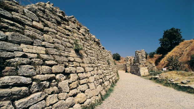 The ancient walls of Troy fortress, Eanakkale, Turkey.