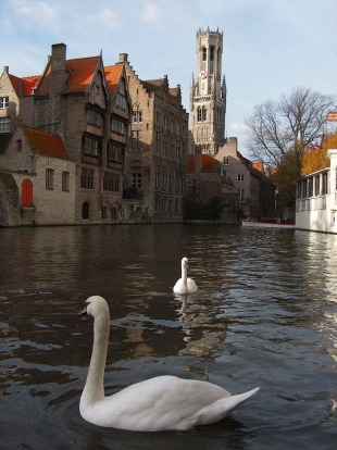 One of the picturesque canals of Bruges, Belgium.