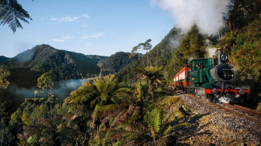 The beaten track: The West Coast Wilderness Railway.