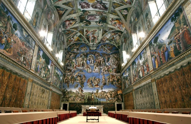 The Sistine Chapel at the Vatican.