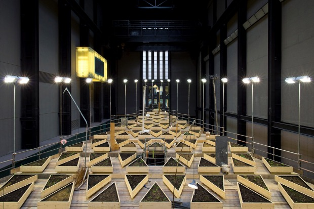 "A general view of Abraham Cruzvillegas's latest installation ""Empty Lot"" displayed in the turbine room at Tate Modern in ..."