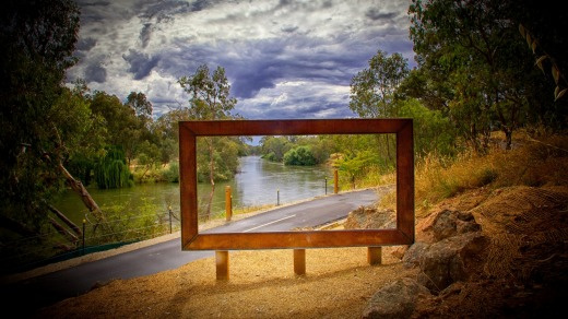 <i>The Bigger Picture</i> on the Yindyamarra Sculpture Trail in Albury.