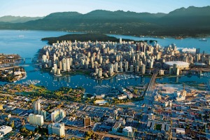 An aerial view of the Vancouver skyline.