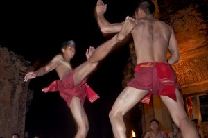 Muay Thai kick boxers at the Sikhoraphum Castle.