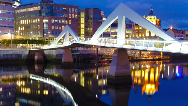 Glasgow's 'Squiggly Bridge' over the River Clyde.