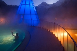 Part of the Aqua Dome is a clothed section where people who enjoy the glory of swimwear can bathe in thermal pools under ...