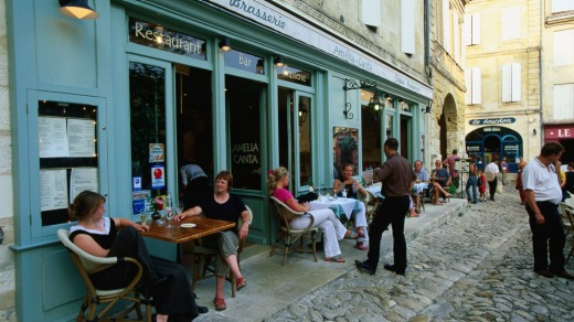 Saint Emilion, an outdoor cafe in the heart of wine country.