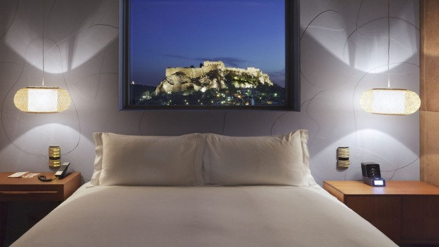 Some rooms at the New Hotel Athens have views of the Acropolis.