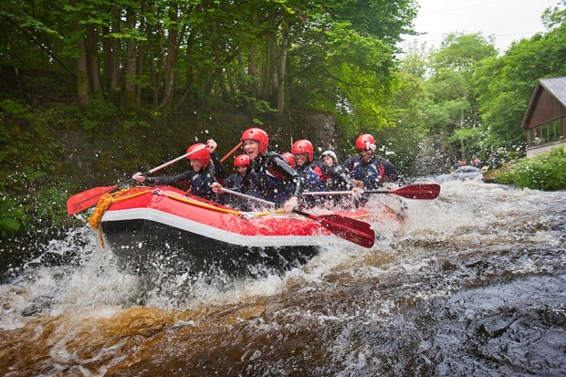 White water rafting on River Tryweryn in Bala, North Wales.
