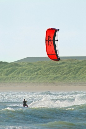 Kite surfing at Rhosneigr in Anglesey, North Wales.