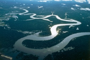 Aerial view of the Amazon River near Iquitos - Loreto Region, Peru.