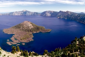 Wizard Island, the larger of the two islands on Oregon's Crater Lake, the deepest lake in the USA.