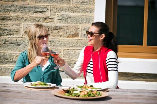 Megan Gale enjoying a delicious lunch at Pitches in Ophir, whilst cycling The Otago Central Rail Trail.