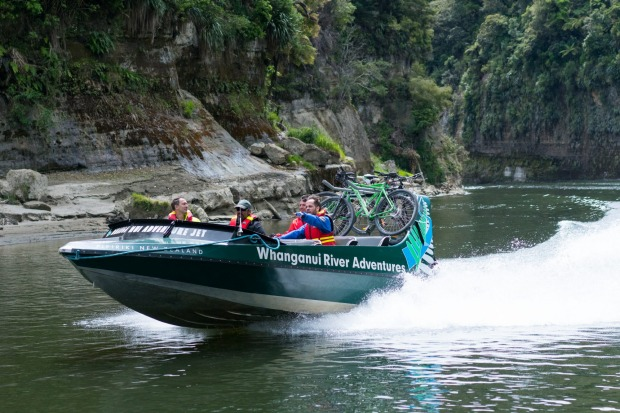 While you'll be on your bike for much of the Mountains to Sea cycle trail, the link to Pipiriki requires a jet boat ride ...