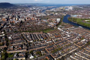 Aerial view over Belfast, Northern Ireland.