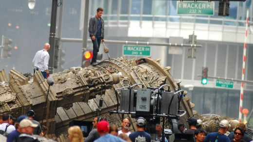 Shia LeBeouf during filming of a <i>Transformers 3</i> scene in downtown Chicago.