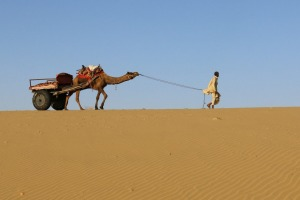 I was camel riding the Sam Dune, outside of Jaisalmer in Rajasthan, India. I looked across to another dune and this ...