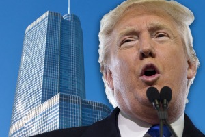 Donald Trump with Trump International Hotel & Tower.