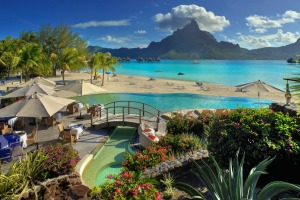 The pool at Le Meridien, Bora Bora, has a stunning outlook.
