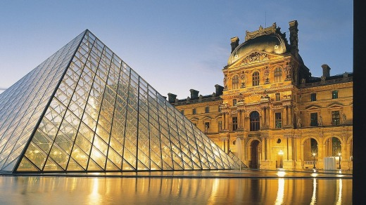 The Louvre is dominated by I. M. Pei's glass pyramid.