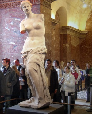 The Venus de Milo's robe seems to be sliding south.