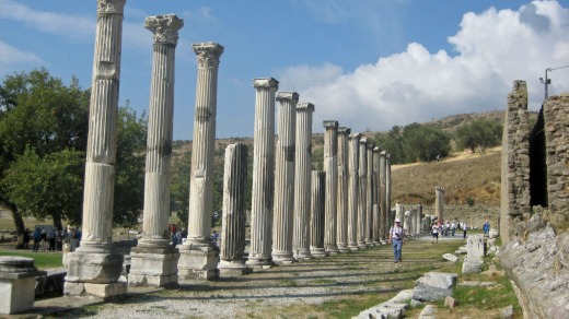 The ruins of the Asklepion medical centre at Pergamum in Turkey.