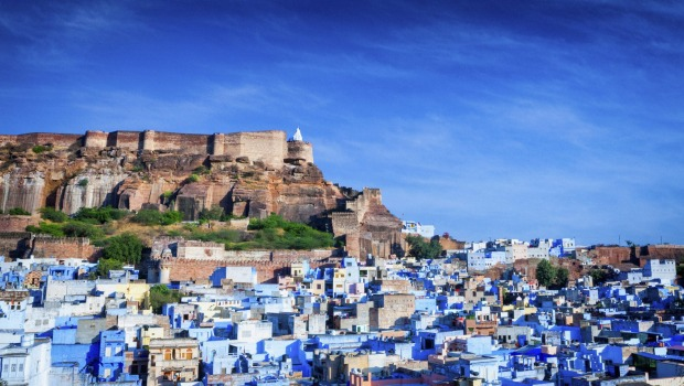 Blue City: The  Mehrangarh Fort in Jodhpur, India.