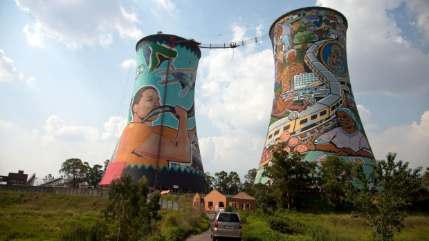 The brightly painted cooling towers of the Orlando Power Station in Soweto.