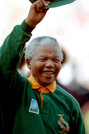 A video showing Nelson Mandela wearing a Springbok rugby jersey at the 1995 Rugby World Cup final gave the writer his ...