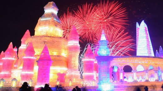 Fireworks at the opening ceremony of the Harbin International Ice and Snow Festival in Harbin, China.