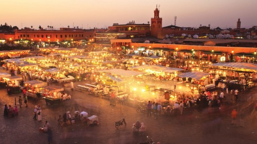 There are fewer crowds at Jemaa el-Fnaa in Marrakech during winter.