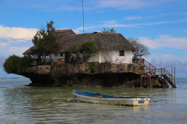 The Rock restaurant and bar, Zanzibar towards high tide.