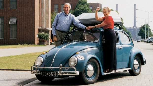 The couple, pictured again in the 1990s, are now heading off on their final journey in the Beetle.
