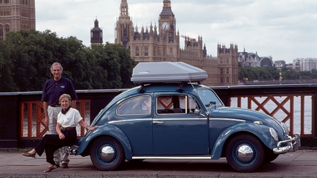 The Beetle sets off again from its starting point in London.