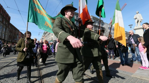 A march led by bagpipers is staged as the 1916 Easter Rising is remembered in Dublin city centre.