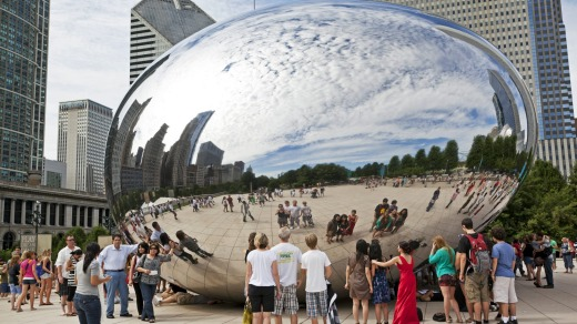 The steel sculpture named Cloud Gate in Millennium Park in downtown Chicago.
