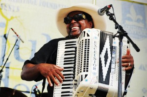 Nathan Williams plays zydeco, the accordion-driven music of the Creoles.