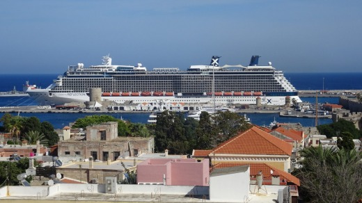 The Celebrity Reflection  moored in Rhodes, Greece.