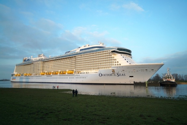 Ovation of the Seas sailing down the River Ems in northwestern Germany.