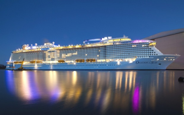 Ovation of the Seas at the Meyer Werft shipyard.