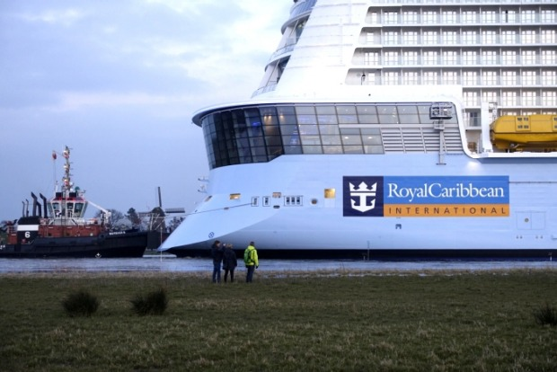 Caribbean's Ovation of the Seas begins its conveyance down the River Ems out to the North Sea.