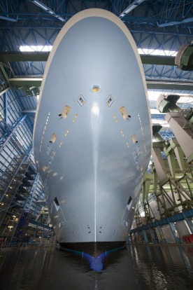 Ovation of the Seas 'floated out' at the Meyer Werft ship yard in Papenburg, Germany in February 2016.