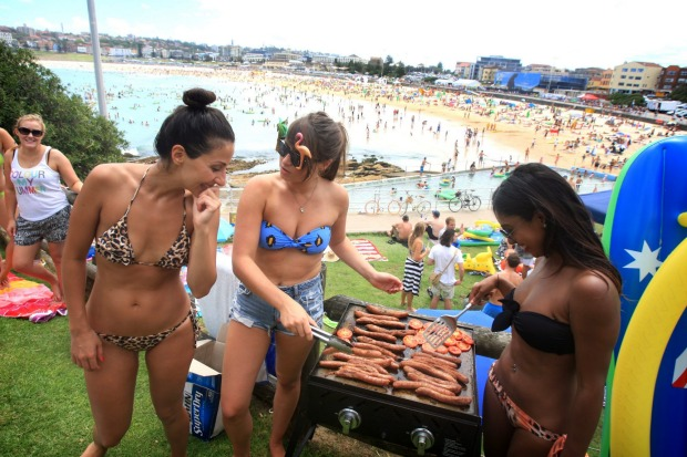 Australia Day at Bondi Beach, Sydney.