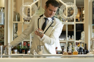 The Savoy's head bartender Erik Lorinc at work in the art deco American Bar.