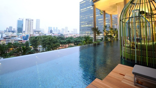 The quirky cabanas beside the infinity pool.