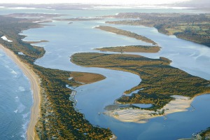 The Gippsland lakes from above.