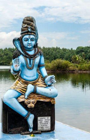 The statue of Shiv Ji at the holy Grand Bassin Crater Lake.