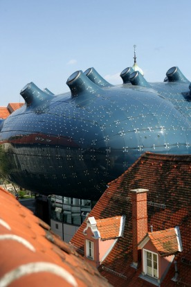 FRIENDLY ALIEN, GRAZ: Snuggled up to traditional gabled Austrian houses with sloping red roofs, Kunsthaus Graz is an ...