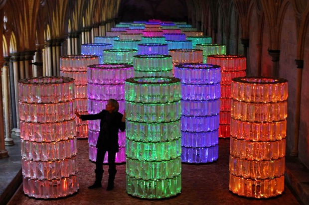 Water-Towers, another light installation by Bruce Munro, in Salisbury Cathedral's medieval cloisters in 2011.